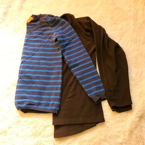 2 lot long-sleeve tops Small blue stripped  black
